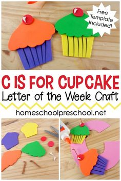 This C is for Cupcake preschool craft is perfect for your letter of the week lesson plans. It also pairs well with If You Give a Cat a Cupcake! Letter C Activities, Preschool Letter Crafts, Alphabet Letter Crafts, Kindergarten Crafts, Preschool Activities, Lesson Plans For Preschool, Letter Tracing, Children Activities, Vocabulary Activities