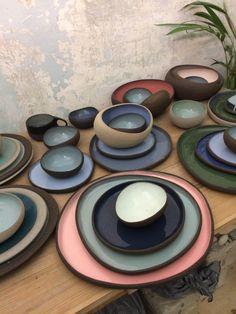 pebble ceramic vessels by Myrto Zirini – Tableware Design 2020 Ceramic Tableware, Ceramic Bowls, Slab Pottery, Ceramic Pottery, Printable Halloween, Keramik Design, Wheel Thrown Pottery, Japanese Pottery, Pottery Making
