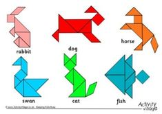 Website to find Tangram Shape Worksheets. A great activity for early finishers!