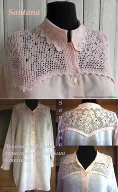 Льняная рубашка с отделкой в филейной технике