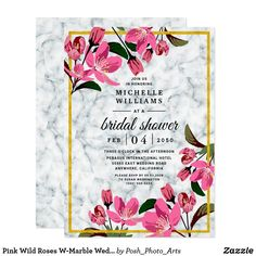 Pink Wild Roses W-Marble Wedding Bridal Shower Invitation Rustic Bridal Shower Invitations, Pink Invitations, Bridal Shower Rustic, Elegant Wedding Invitations, Invitation Design, Custom Invitations, Invites, Elegant Wedding Programs, Rose Wedding