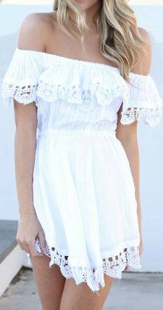 Off shoulder white spanish mini dress