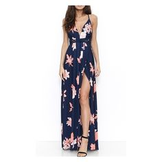 Far And Away Navy Blue Pink White Floral Spaghetti Strap Plunge V Neck... ($68) ❤ liked on Polyvore featuring dresses, navy white dress, v-neck maxi dresses, white maxi dress, maxi dresses and pink maxi dress