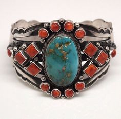 Old Pawn Navajo Spiny Oyster  Turquoise Sterling Cuff Bracelet - Aaron Toadlena