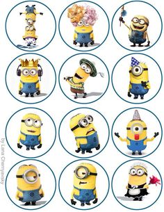 Minions set 6 flat back buttons or pin badge embellishments cobochons Minion Theme, Minion Birthday, Minion Party, Geek Birthday, Birthday Cakes, Bottle Cap Art, Bottle Cap Crafts, Bottle Cap Images, 3d Cuts