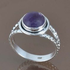 925 SOLID STERLING SILVER FANCY AMETHYST RING 3.97g DJR9063 SZ-9 #Handmade #Ring