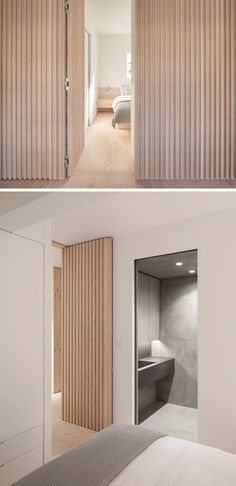 Interior Design Ideas - The wood slat wall in this modern apartment incorporates secret doors and all storage and service requirements for the apartment including kitchen appliances and hanging cupboards resulting in a highly efficient plan. Interior Design Minimalist, Modern Interior Design, Interior Architecture, Modern Door Design, Modern Interior Doors, Wood Wall Design, Modern Apartment Design, Modern Apartments, Door Design Interior
