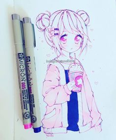 Oh hello~ how are you today? Anime Drawings Sketches, Anime Sketch, Manga Drawing, Manga Art, Cute Kawaii Drawings, Kawaii Art, Kawaii Anime, Arte Copic, Copic Art