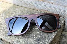 Occhiali da sole in legno Flat Top Paul Ven Fox Black Bamboo.