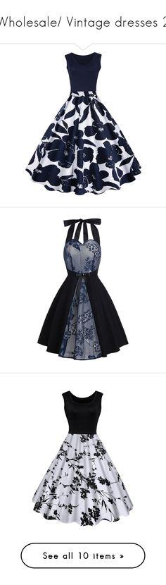 """Wholesale/ Vintage dresses 2"" by paculi ❤ liked on Polyvore featuring dresses, flower print dress, vintage dresses, floral pattern dress, botanical dress, blue floral dress, panel dresses, vintage lace dress, fit flare dress and fit and flare dress"