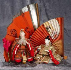 "4"" - 6"" Japanese ceremonial dolls depicting legendary figures in original costumes. $400/500"