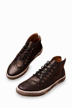 Vintage Brogue Sneakers In Brown