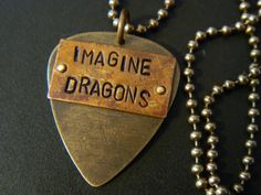 Imagine Dragons Guitar PIck Natural Brass Artisan Copper Hand Metal Stamped Ball Chain Necklace on Etsy, $22.99