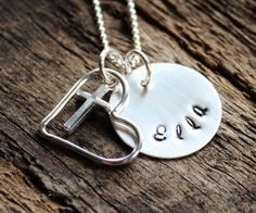 Personalized Name Necklace with Sterling Silver Cross and Open Heart - Faith and Love | 2 Sisters Handcrafted