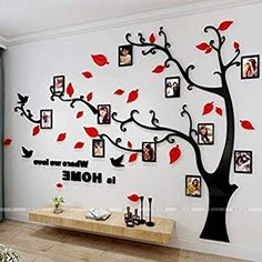 Beddinginn Tree Wall Sticker with Famliy Picture Frames DIY Branches Photo Gallery Frame Decor for Office and Home Inches (Red Leaves,Right) Diy Wall Stickers, Wall Decals, Wall Vinyl, Tree Decals, Nail Stickers, Vinyl Art, Cadre Photo Diy, Diy Photo, Family Tree Wall Decor