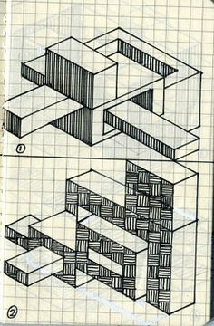 Graph paper isometric sketch Isometric Sketch, Isometric Shapes, Isometric Grid, Graph Paper Drawings, Graph Paper Art, Geometric Shapes Drawing, Geometric Art, Hand Drawing Reference, Architecture Concept Drawings