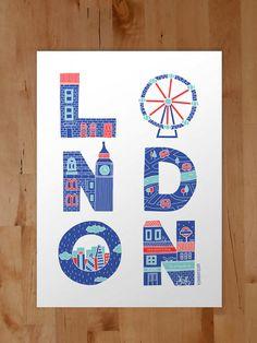 LONDON Limited edition Screenprint 56x76cm by IamAnitaDinamita