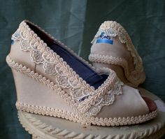 RUSH  Custom Wedding TOMS   Wedge design  For by TheCrystalSlipper, $250.00