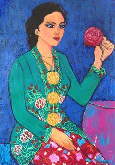 Lady Rose in Green Kebaya - acrylic on canvas Lion Forearm Tattoos, Dream Logo, Dutch Painters, Manado, Kebaya, Art And Architecture, Colonial, Flamingo, Artworks