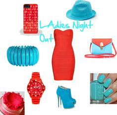 """""""Ladie's Night Out(Red and Blue Theme)"""" by justinsfangirl ❤ liked on Polyvore"""