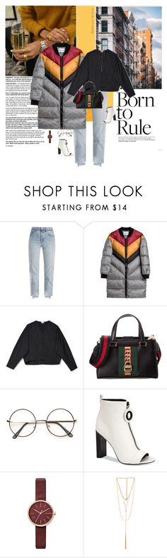 """Dream of Tarantino"" by grace-eun-ae-boye ❤ liked on Polyvore featuring Vetements, Gucci, Calvin Klein, Skagen, Ettika and puffercoats"
