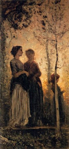 BANTI, Cristiano Italian painter (b. 1824, Santa Croce sull'Arno, d. 1904, Montemurlo) Three Peasant Women 1881 Oil on canvas, 73 x 34 cm Galleria Palatina (Palazzo Pitti), Florence