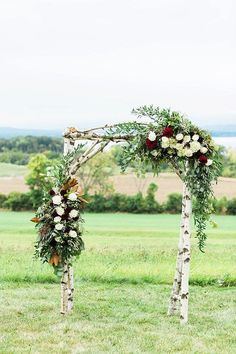 Rustic wedding ceremony arch with flowers - Wedding Arch Wedding Gate, Birch Wedding, Wedding Arch Rustic, Wedding Ceremony Arch, Wedding Altars, Lakeside Wedding, Wedding Ceremony Decorations, Ceremony Backdrop, Fall Wedding