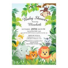 printable jungle baby shower invitation free thank you card included safari neutral theme baby boy giraffe print monkey zebra eleph