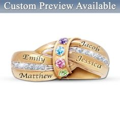 """Unique contemporary """"embrace"""" design. 24K gold-plated solid sterling silver with up to 5 engraved names, matching crystal birthstones. With gift box."""