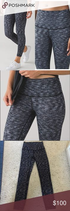 Lululemon High Times Pant Worn and washed twice  Size 2 - size dot confirmed in last photo - rip tag not attached anymore  Dramatic static black and white colorway  No flaws to note - crotch photo added to confirm inner condition LUON High rise 7/8 length   SOLD OUT  Price is firm and non negotiable lululemon athletica Pants Leggings