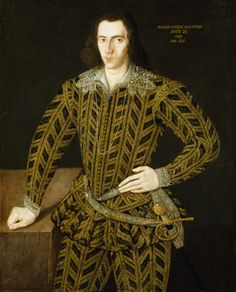 WILLIAM, 1st LORD POWIS, (1574-1656), portrait, after conservation, by the Anglo-Flemish School dated 1595 at Powis Castle, Powys, Wales