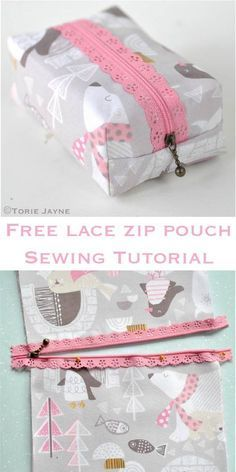 Free Lace zip pouch sewing tutorial