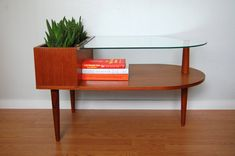 Vintage Silkeborg mid-century modern Danish coffee side end teak wood glass planter table.