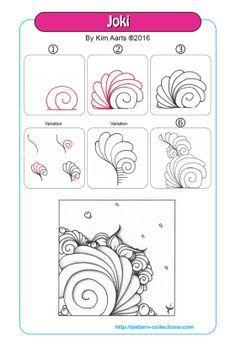 joki-by-kim-aarts More Doodle Draw Zentangle Drawings, Doodles Zentangles, Doodle Drawings, Doodle Art, Zantangle Art, Zen Art, Zen Doodle Patterns, Zentangle Patterns, Stylo Art
