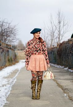 Winnipeg Canadian Fashion Stylist Consultant Blog, Forever 21 rose top, BCBG Max Azria Aria pleated skirt, floral print tights, Juicy Couture terry rose purse, John Fluevog Hildegard Soprano olive green knee high lace up leather boots