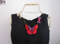 Fabric origami butterfly nacklace  Collier di LePetitAtelierDErica