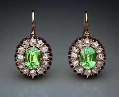 Victorian. Rose Gold, Demantoid Garnet and Diamond Cluster Earrings, Russian, c1885.