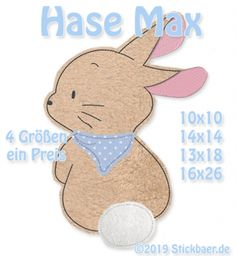 Der Stickbaer | Bunny Max | Embroidery from heart