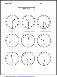 time math sheets - Google Search