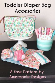 Toddler Diaper Bag Accessories free pattern | Ameroonie Designs Diaper Bag Patterns, Doll Sewing Patterns, Sewing Dolls, Sewing Tutorials, Free Doll Clothes Patterns, Diaper Bag Tutorials, Pattern Sewing, Clothing Patterns, Toddler Diaper Bag