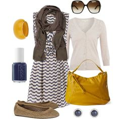 """brown, navy, yellow"" by htotheb on Polyvore  I would ditch the scarf and the shoes.... add a cute pair of wedges prob"