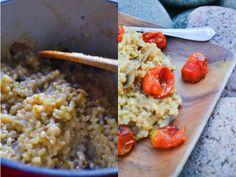 Risotto de arroz yamaní con hongos y tomates asados