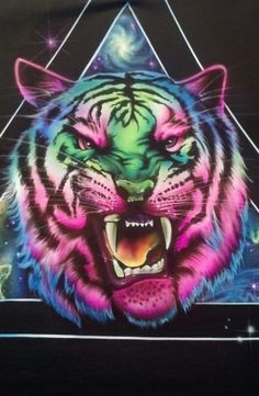 Cosmic Tiger Galaxy Custom Airbrushed Shirt men's or Tiger Drawing, Tiger Art, Tiger Painting, Colorful Animals, Cute Animals, Cool Cats, Big Cats, Airbrush Shirts, Funny Grumpy Cat Memes