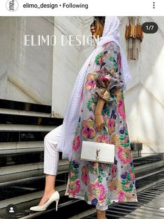 Fancy Dress Design, Stylish Dress Designs, Abaya Fashion, Muslim Fashion, Mode Kimono, Chic Outfits, Fashion Outfits, Mode Abaya, Iranian Women Fashion