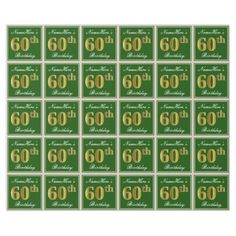 Elegant Green Faux Gold 60th Birthday  Name Wrapping Paper - craft supplies diy custom design supply special