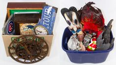 Lot 719: Wall Clock Assortment; Five items including a Chicago Cubs baseball clock on painted slate, a Nestle tollhouse cookie clock, a clock with an embroidered face, a Cafe de la Tour clock and a wood gear shaped clock; together with a mask and figurine assortment