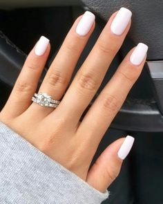 Nails in white gel: A range of ideas to adopt a very chic nail art - Women Style Tips. in Nails in white gel: A range of ideas to adopt a very chic nail art - Women Style Tips. Chic Nail Art, Chic Nails, Stylish Nails, Elegant Nails, White Gel Nails, Pink Nails, Neutral Gel Nails, White Nail Polish, Gel Nail Polish Colors