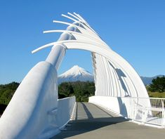 Te Rewa Rewa - New Plymouth, New Zealand;  opened in 2010;  Mount Taranaki is in the distance;  photo by Annemarie Kelly