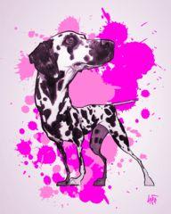 Dalmatian Paint Splatter Poster
