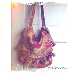 Red Winter Floral Chenille Messenger Bag Limited by CamillaCotton,